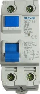 Chránič ID OLL7-63 240V/25A-30mA 1fázový na DIN lištu